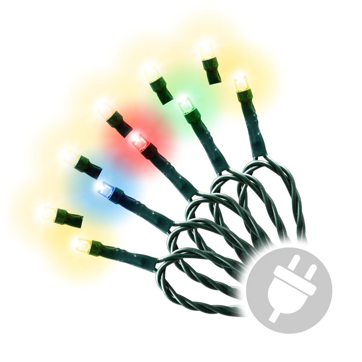 200 LED Lichterkette Farbwechsel warm weiß bunt mit 9 Funktionen grünes Kabel