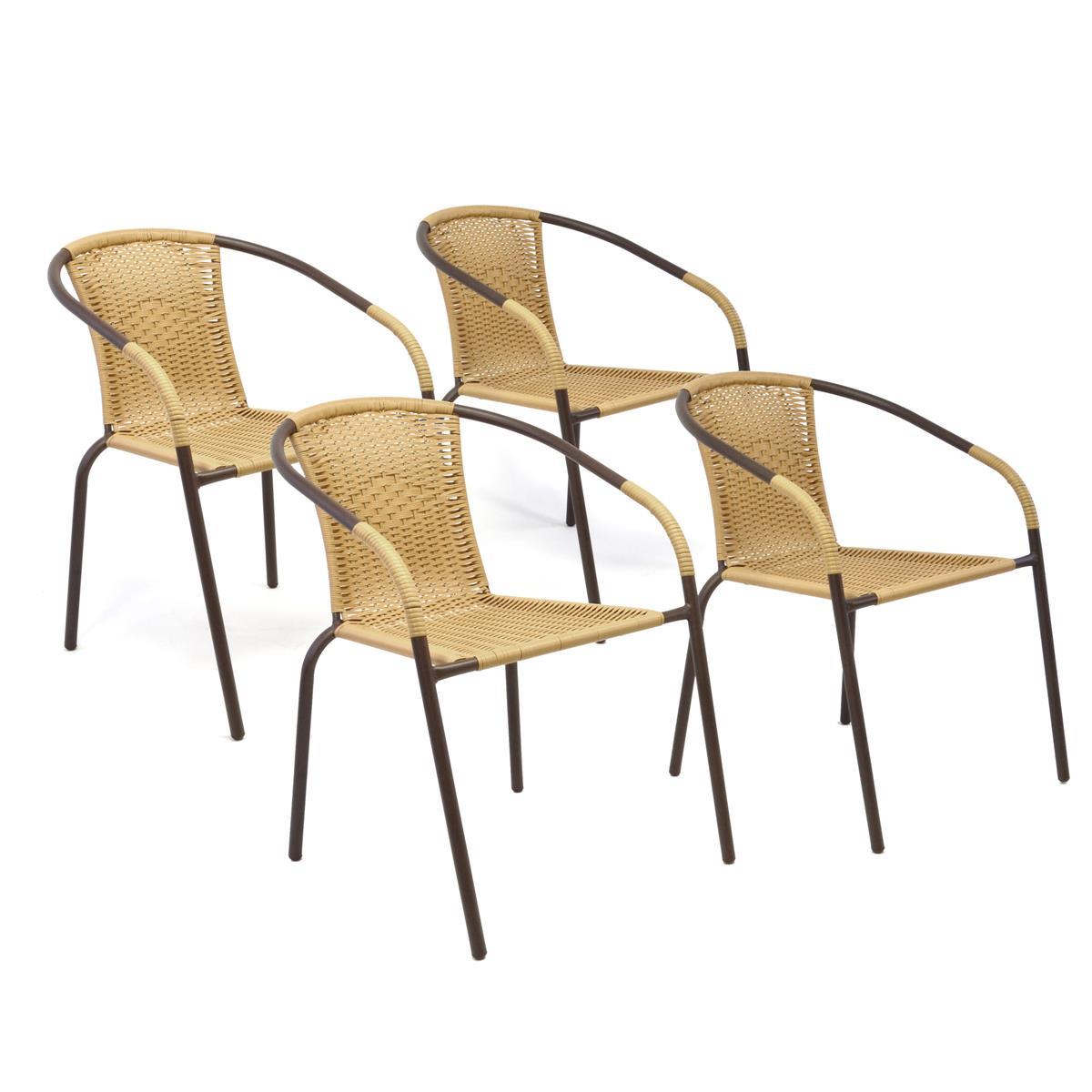 4er Set Bistrostuhl beige Stapelstuhl Balkonstuhl Gartenstuhl Poly-Rattan Stahl