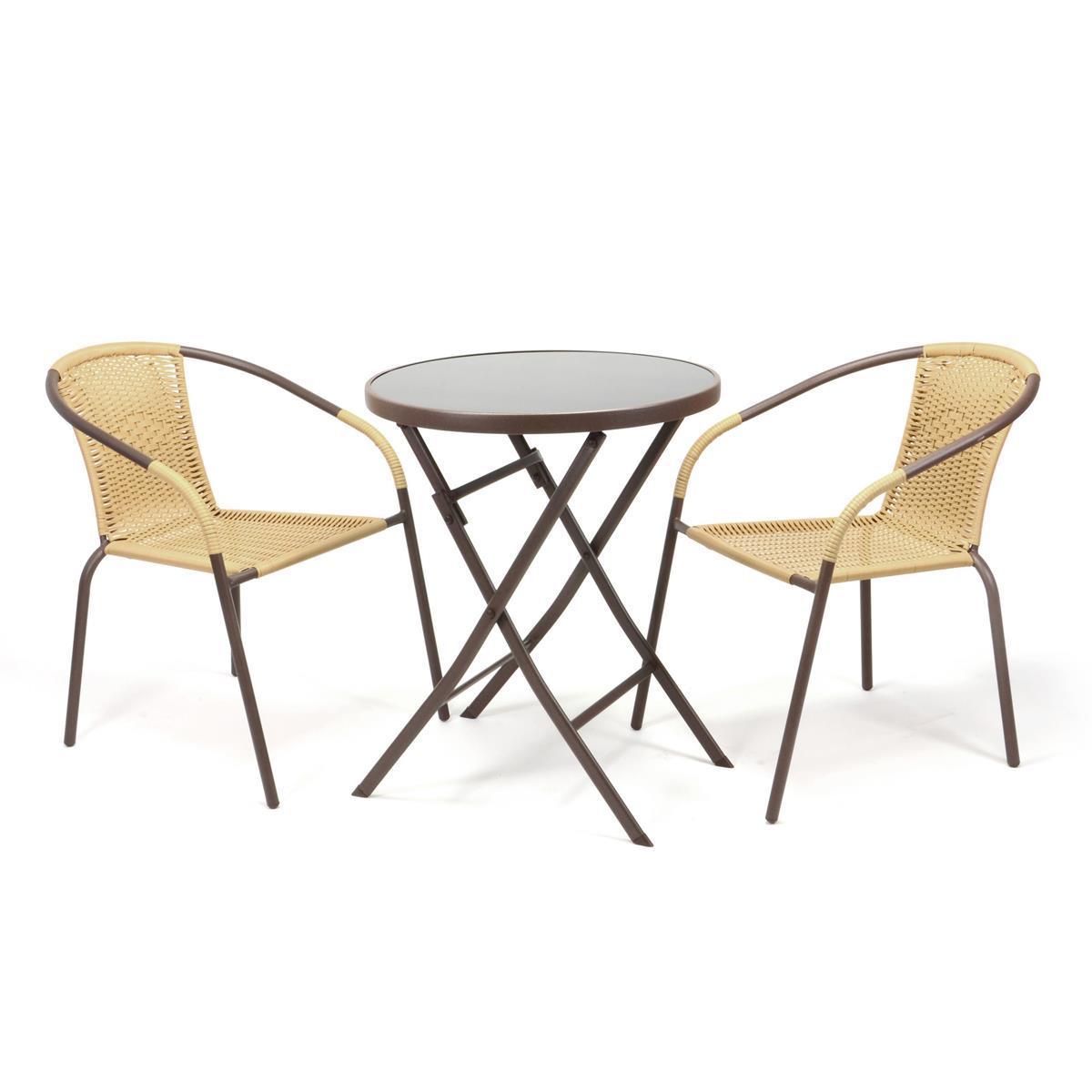 Bistroset Balkonset beige Sitzgarnitur aus Klapptisch + Bistrostuhl Polyrattan