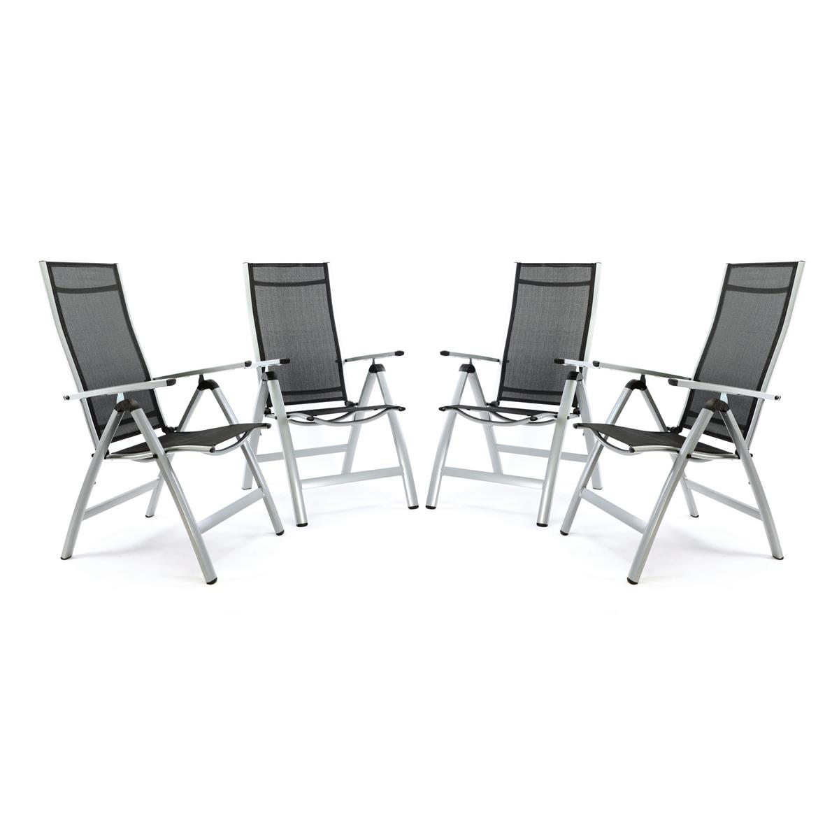 4er Set Deluxe Alu Stuhl extrabreit Klappstuhl Gartenstuhl verstellbar schwarz