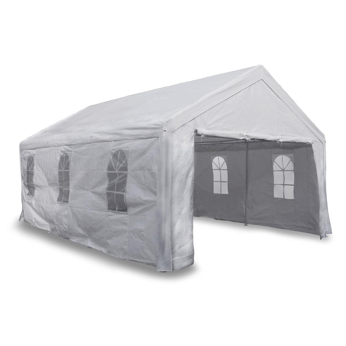 Festzelt Partyzelt Pavillon 4x6 m weiß mit Seitenteilen 180g/m² PE wasserdicht