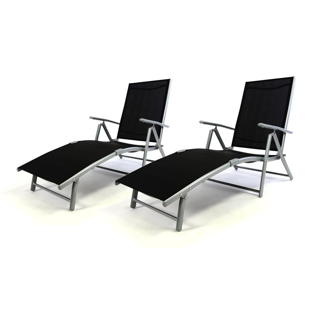 2er Set Gartenliege Sonnenliege Liegestuhl Textilene schwarz Rahmen grau