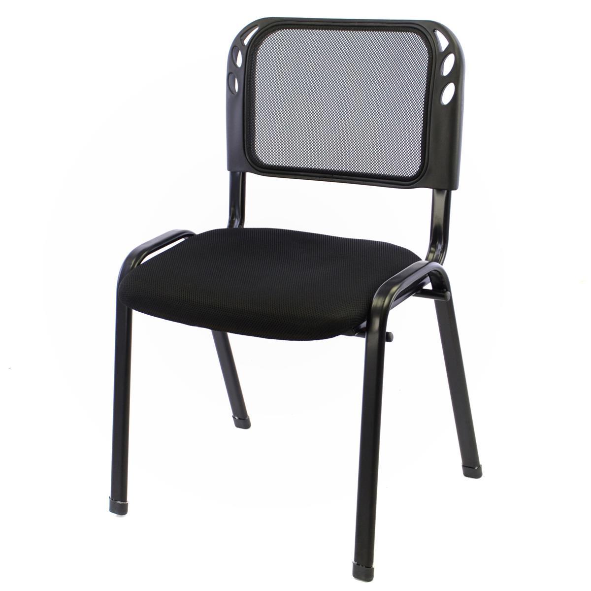 Besucherstuhl Bürostuhl Konferenzstuhl Sitzfläche Schwarz gepolstert stapelbar