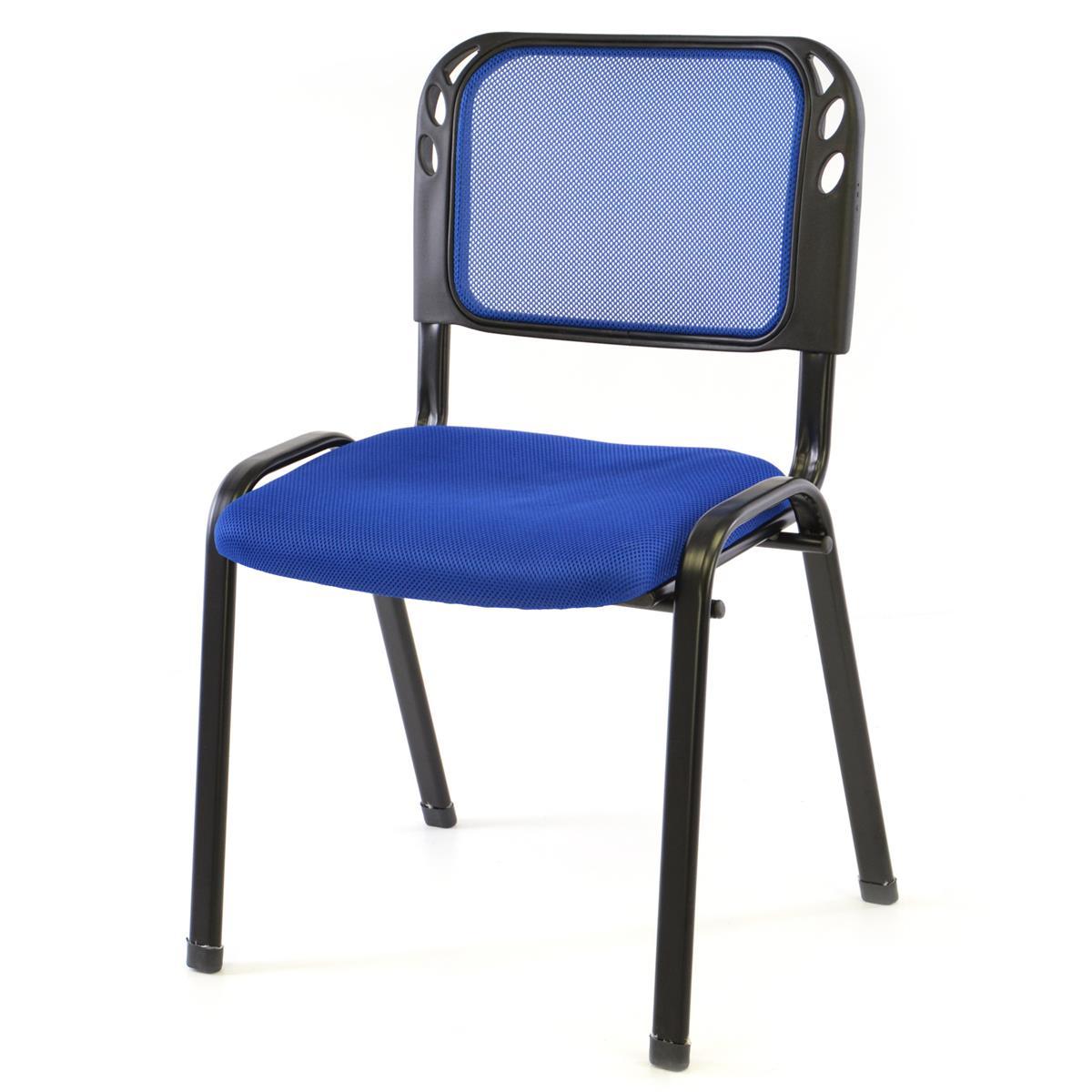 Besucherstuhl Bürostuhl Konferenzstuhl Sitzfläche blau gepolstert stapelbar