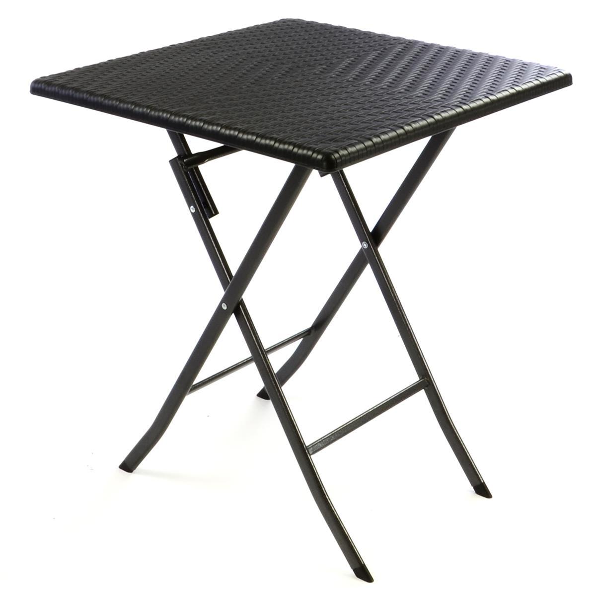 Tisch in Rattan Optik Balkontisch Gartentisch 75 x 61 x 61