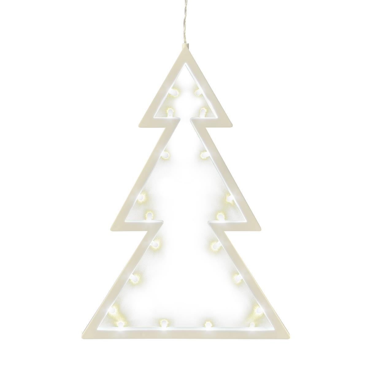 20 LED Fensterbild Baum Leuchtfarbe warm weiß Weihnachtsbaum Dekobaum Fensterschmuck Fensterdeko