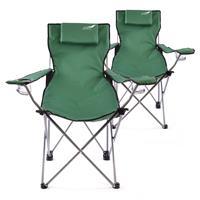 Divero 2er Set Camping Stuhl Faltstuhl Angelstuhl dunkelgrün Kopfkissen robust