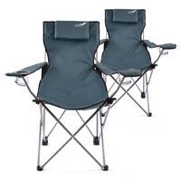 Divero 2er Set Camping Stuhl Faltstuhl Angelstuhl dunkelblau Kopfkissen robust
