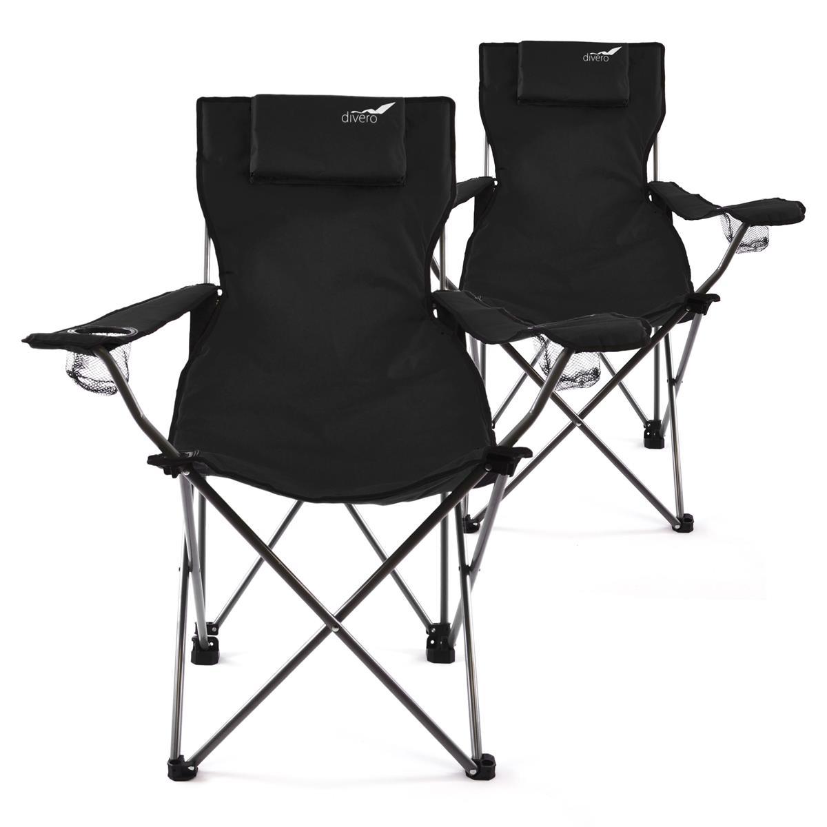 Divero 2er Set Camping Stuhl Faltstuhl Angelstuhl schwarz Kopfkissen robust
