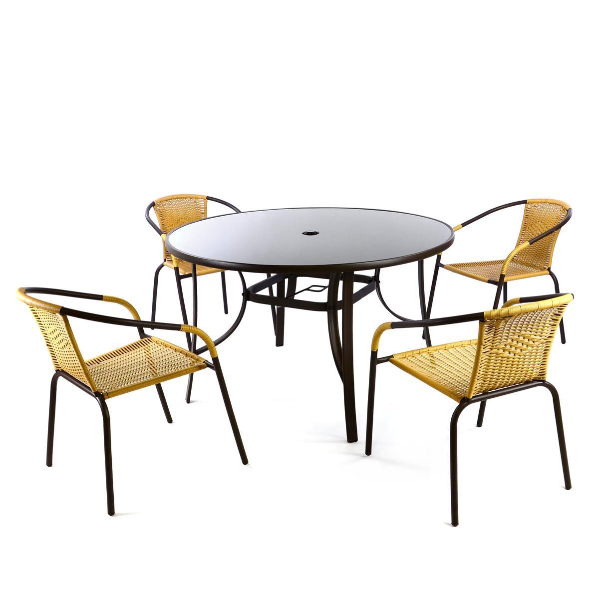5er Bistroset beige Sitzgruppe Gartengarnitur Poly Rattan Gartenmöbel Terrasse