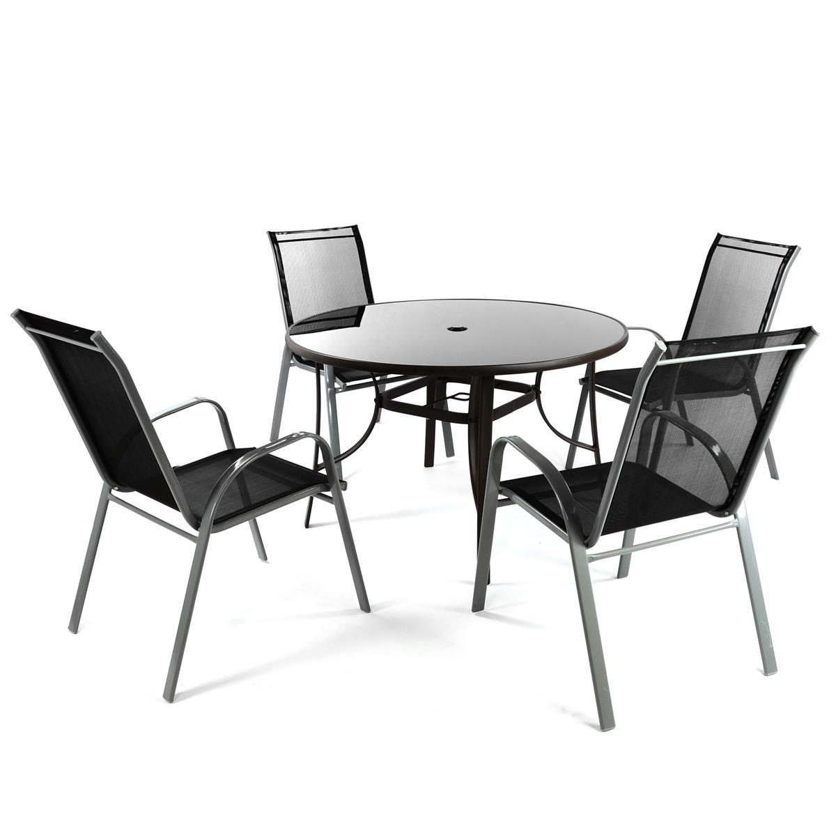 5er Sitzgruppe mit Glastisch 4x Stapelstuhl Gartengarnitur Gartenmöbel Terrasse