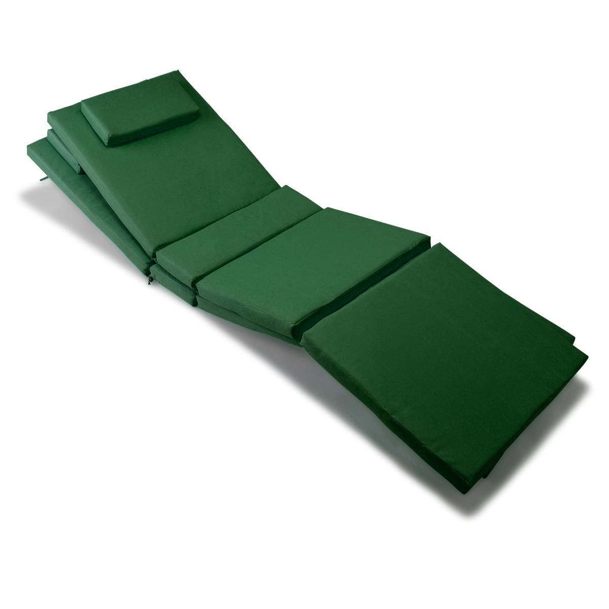 DIVERO 2x Liegenauflage Polster für Gartenliege 4 Segmente Kopfkissen grün
