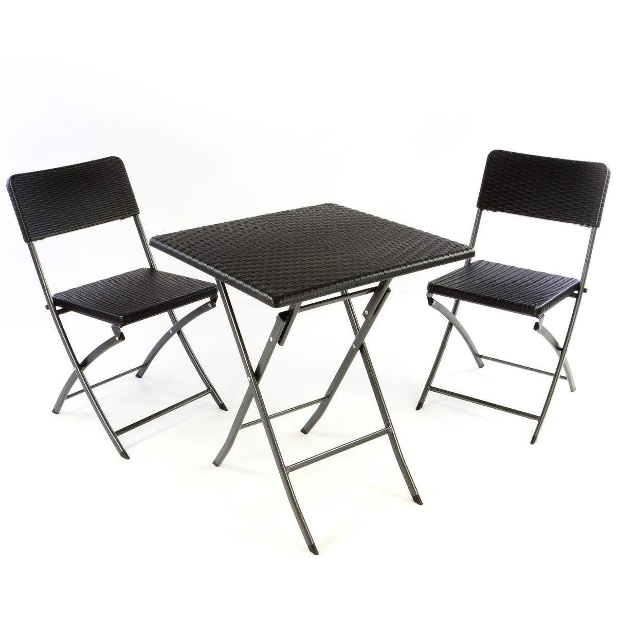 3er Set Garnitur Tischset mit 2 Stühlen Balkonset Rattan-Optik schwarz Bistroset