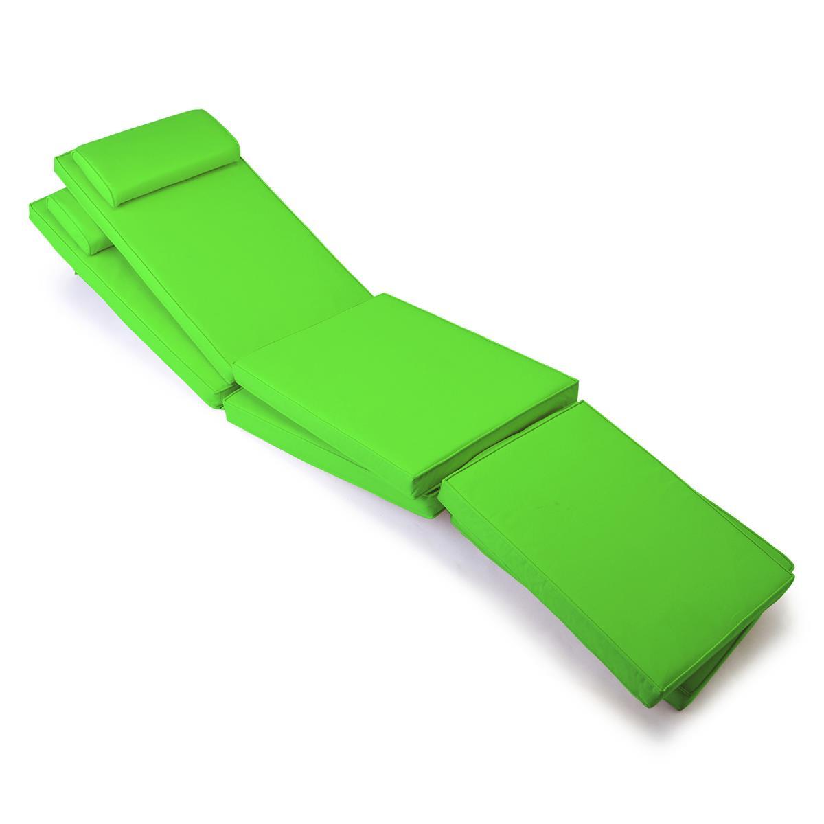 DIVERO 2x Liegenauflage Deckchair Steamer Liegestuhl-Auflage Polster hellgrün