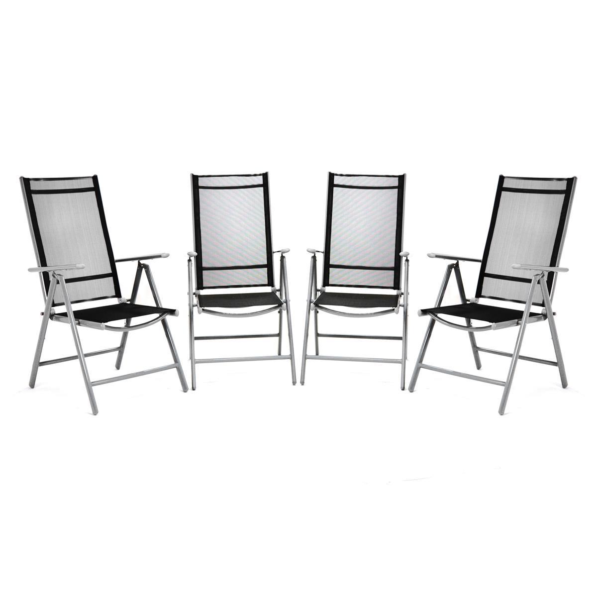 4er Set Klappstuhl Aluminium Komfortbreite Alu Textilene schwarz Rahmen grau