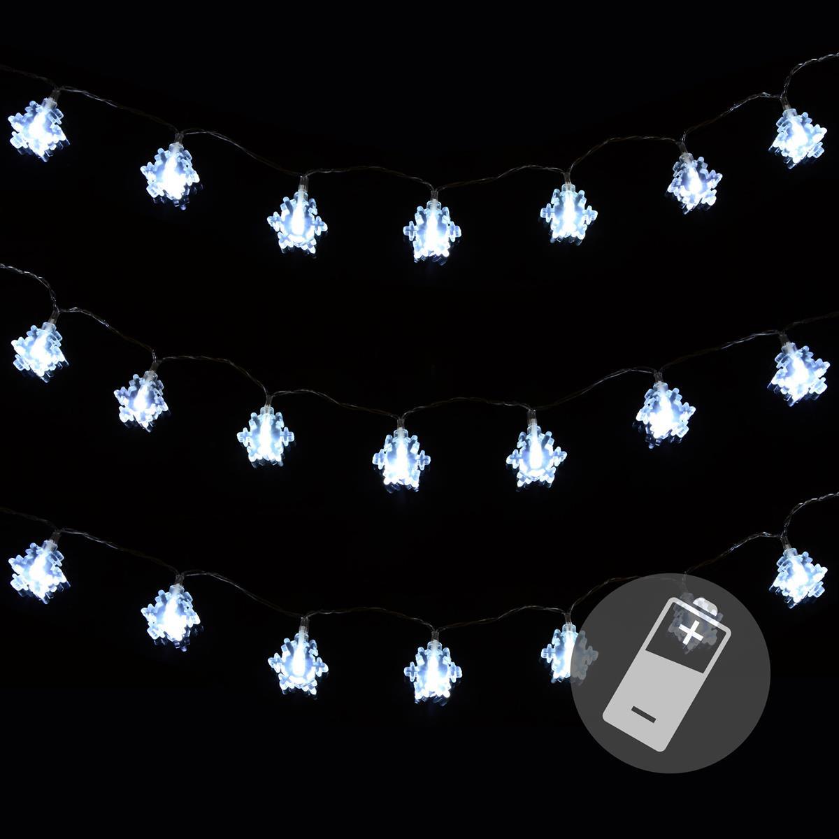 3er Set 20er LED Lichterkette weiß Flocke Schneeflocke Weihnachten Deko Batterie
