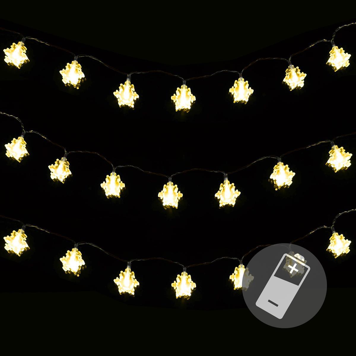 3er Set 20 LED Lichterkette warmweiß Schneeflocke Weihnachten Batterie Timer