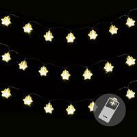 3er Set 20er LED Lichterkette warmweiß Schneeflocke Weihnachten Batterie Deko
