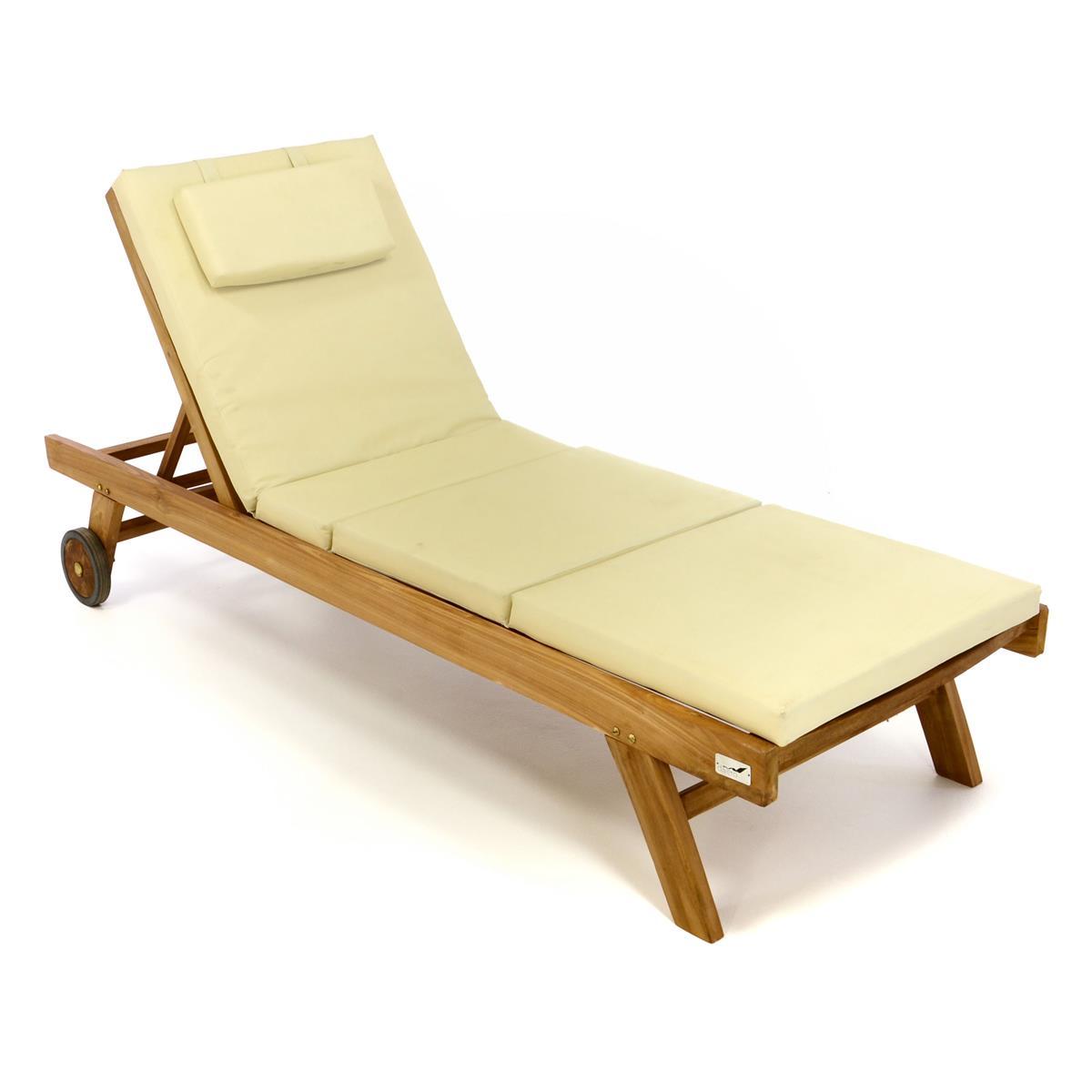 DIVERO Set Sonnenliege Gartenliege Räder Auflage creme Teak Holz behandelt