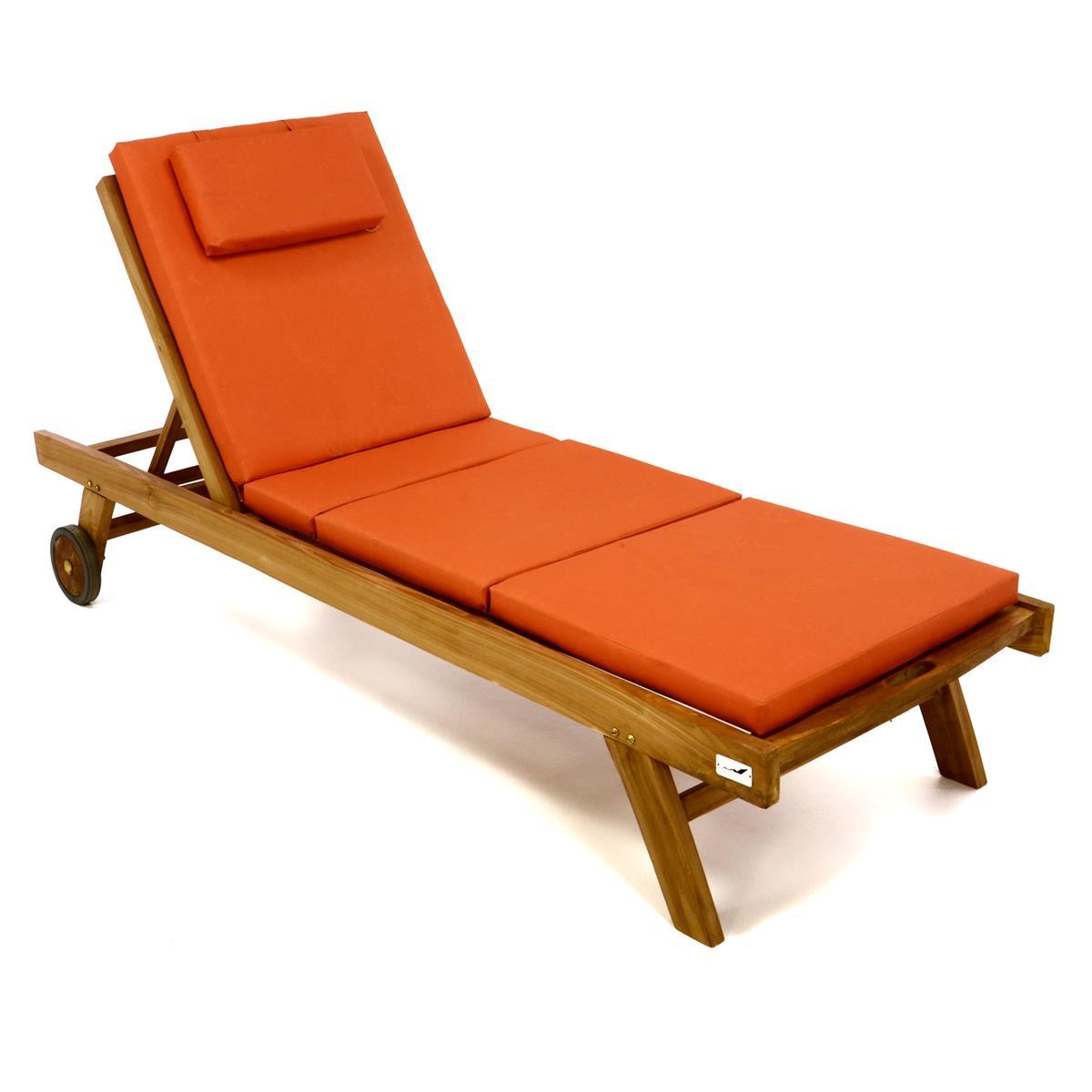 DIVERO Set Sonnenliege Gartenliege Teakholz behandelt Räder Auflage orange
