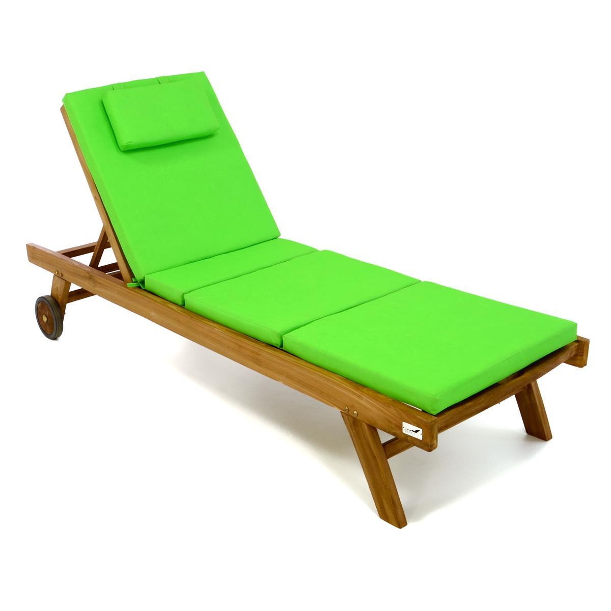 DIVERO Set Sonnenliege Gartenliege Teakholz behandelt Räder Auflage hellgrün