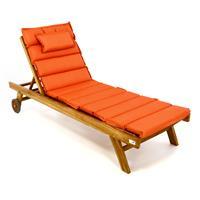 DIVERO Sonnenliege Set Gartenliege Teakholz behandelt Räder Auflage orange