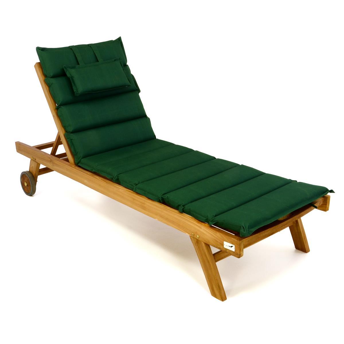 DIVERO Sonnenliege Set Gartenliege Teakholz behandelt Räder Auflage grün