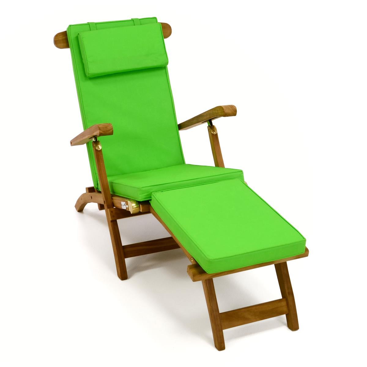 """DIVERO Liegestuhl Deckchair """"Florentine"""" Teak Holz behandelt Auflage hellgrün"""