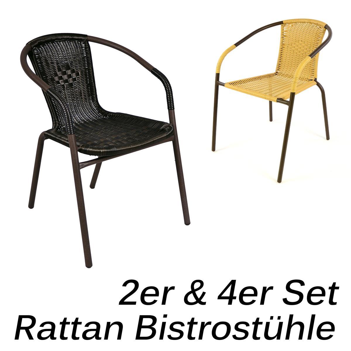 4er Set Bistrostuhl dunkel-braun Stapelstuhl Gartenstuhl Rattan Terrasse Stuhl