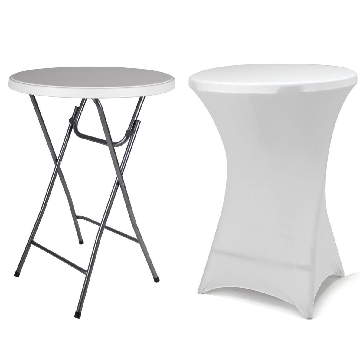 Partytisch Stehtisch klappbar mit Husse weiß Bistrotisch Bartisch 110 cm rund