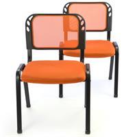 Besucherstuhl 2er Set Konferenzstuhl Sitzfläche gepolstert orange stapelbar