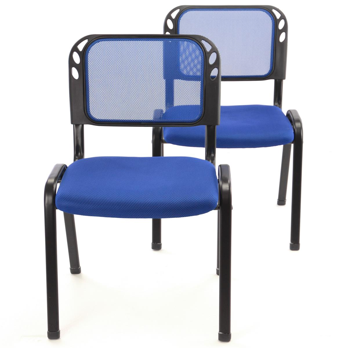 Besucherstuhl 2er Set Bürostuhl Konferenzstuhl Sitzfläche Blau gepolstert