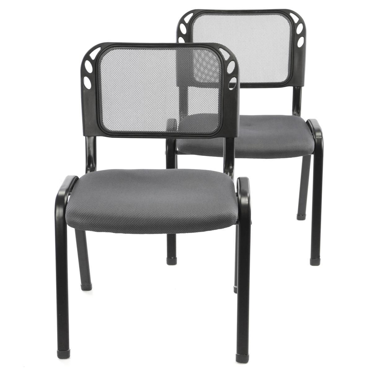 Besucherstuhl 2er Set Bürostuhl Konferenzstuhl Sitzfläche Grau gepolstert