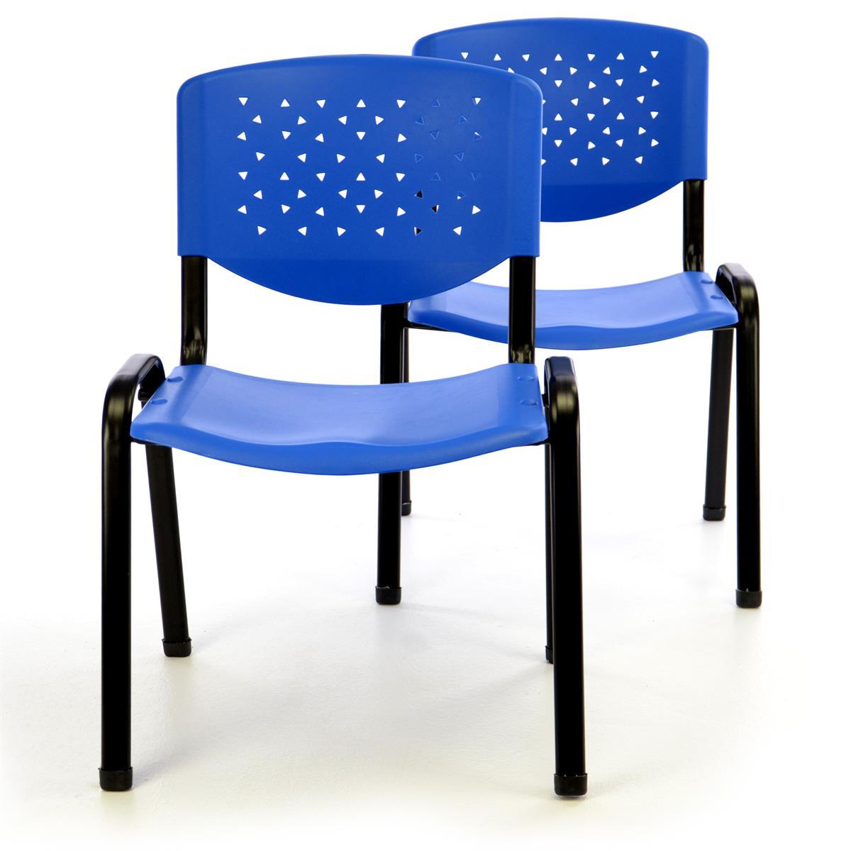 Besucherstuhl 2er Set Bürostuhl Konferenzstuhl Sitzfläche Blau Kunststoff