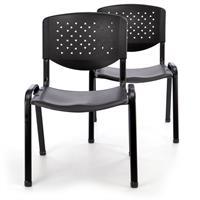 Besucherstuhl 2er Set Bürostuhl Konferenzstuhl Sitzfläche schwarz Kunststoff