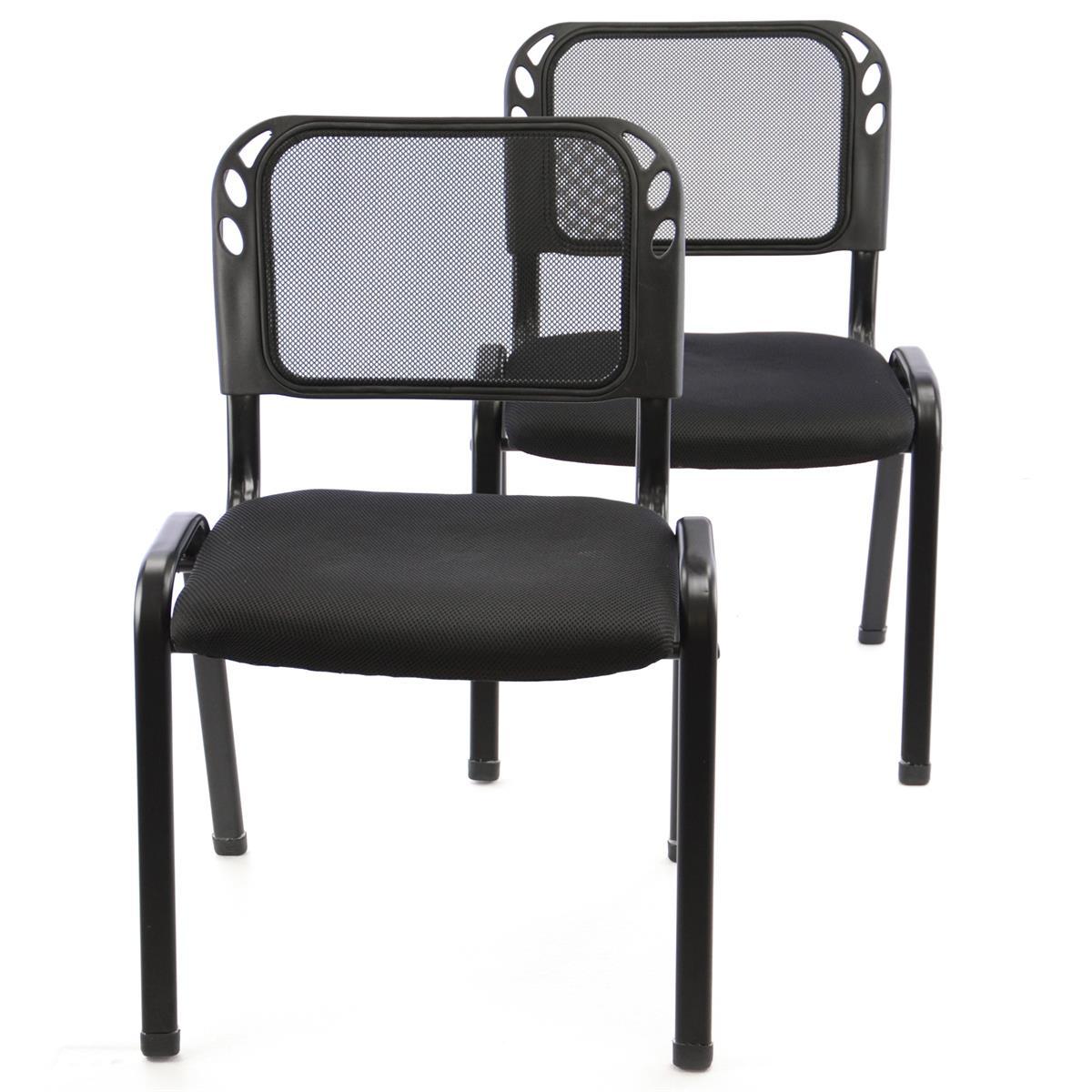 Besucherstuhl 2er Set Bürostuhl Konferenzstuhl Sitzfläche Schwarz gepolstert