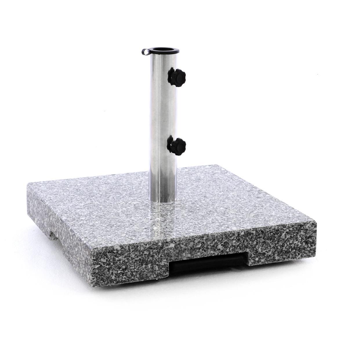 Sonnenschirmständer 40 kg Granit poliert eckig grau 45 x45cm Trolleyfunktion