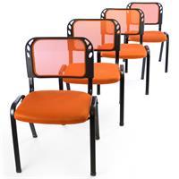 Besucherstuhl 4er Set Bürostuhl Konferenzstuhl Sitzfläche orange gepolstert