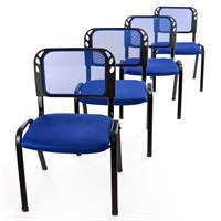 Besucherstuhl 4er Set Bürostuhl Konferenzstuhl Sitzfläche blau gepolstert