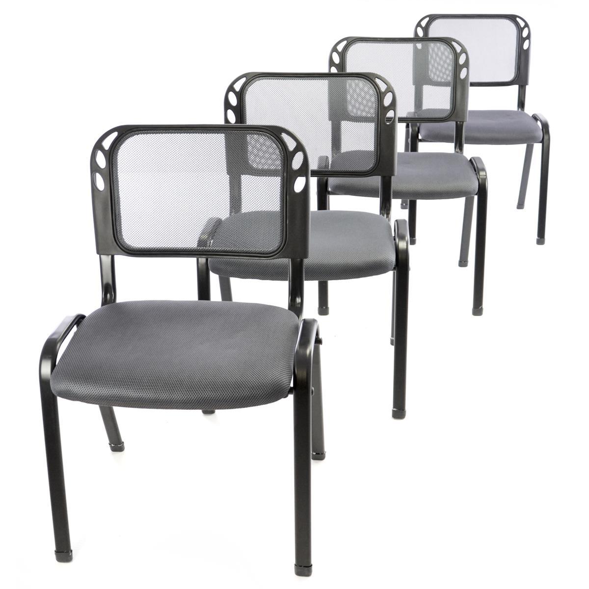 Besucherstuhl 4er Set Bürostuhl Konferenzstuhl Sitzfläche grau gepolstert