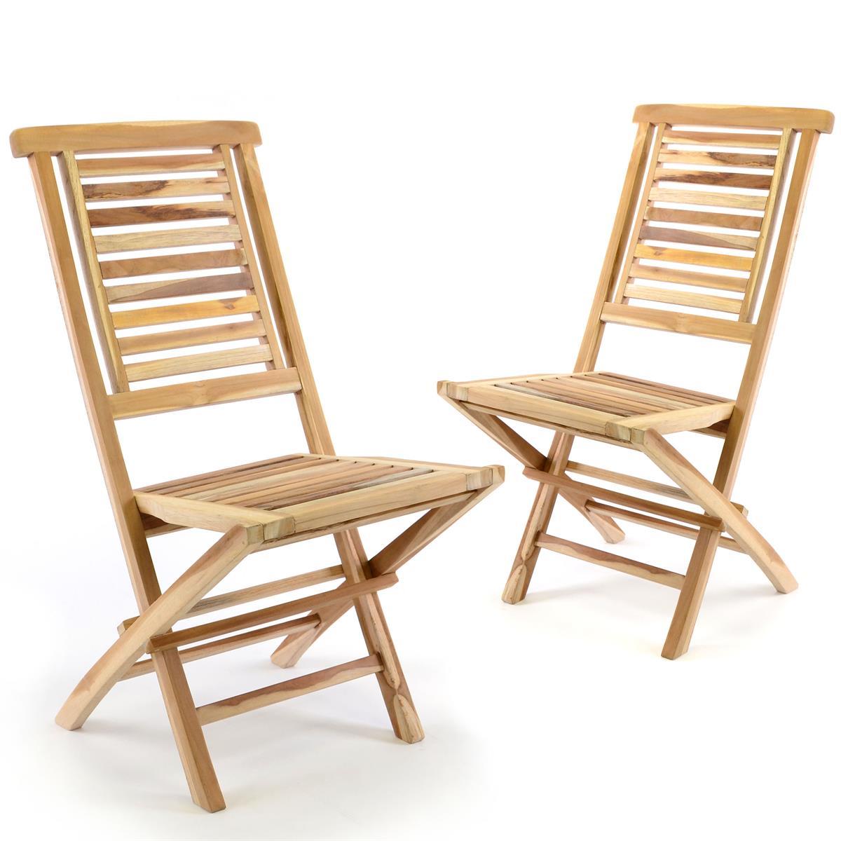 DIVERO 2er Set Klappstuhl Gartenstuhl massiv klappbar Teak Holz unbehandelt