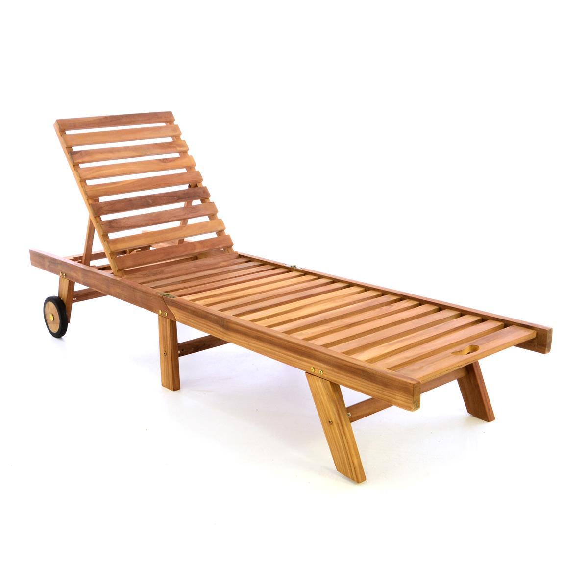 DIVERO Sonnenliege Gartenliege Liegestuhl Teak Holz klappbar behandelt
