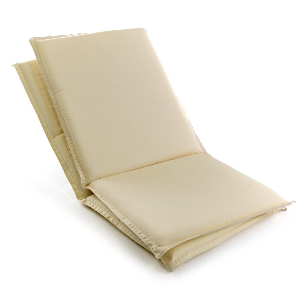 DIVERO 2er Set Sitzauflage Stuhlauflage Hochlehner Gartenstuhl Teak Holz creme