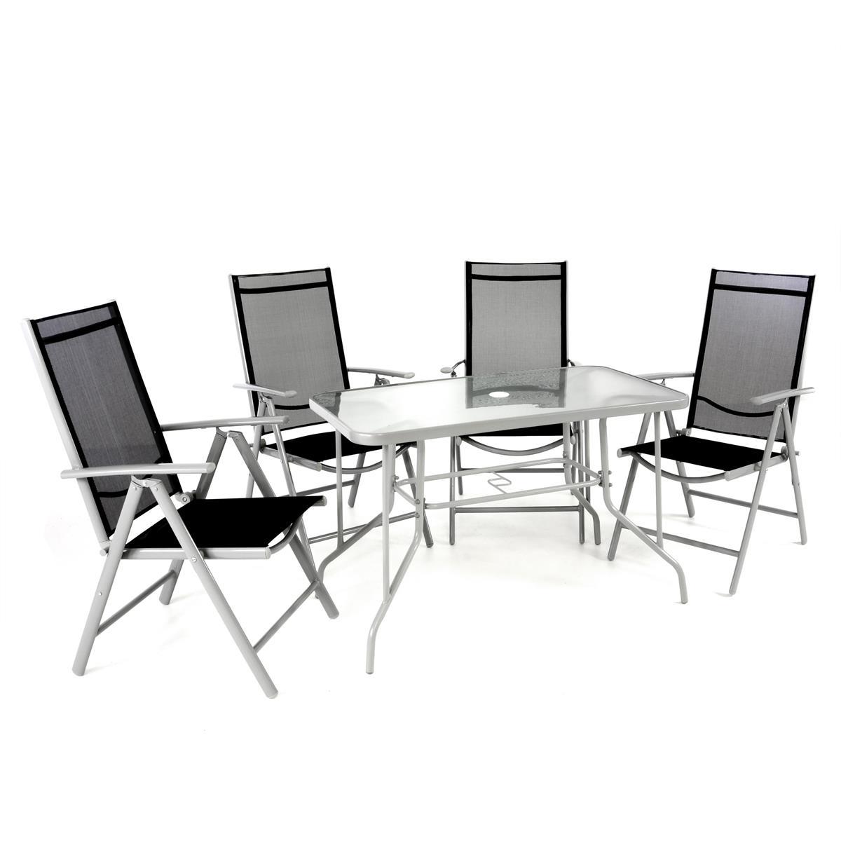 5-teiliges Gartenmöbel-Set schwarz grau Gartengarnitur Klappstühle & Esstisch