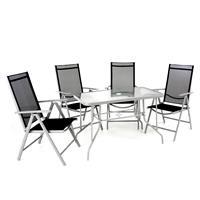 5-teiliges Gartenmöbel-Set schwarz grau Gartengarnitur Stapelstühle & Esstisch