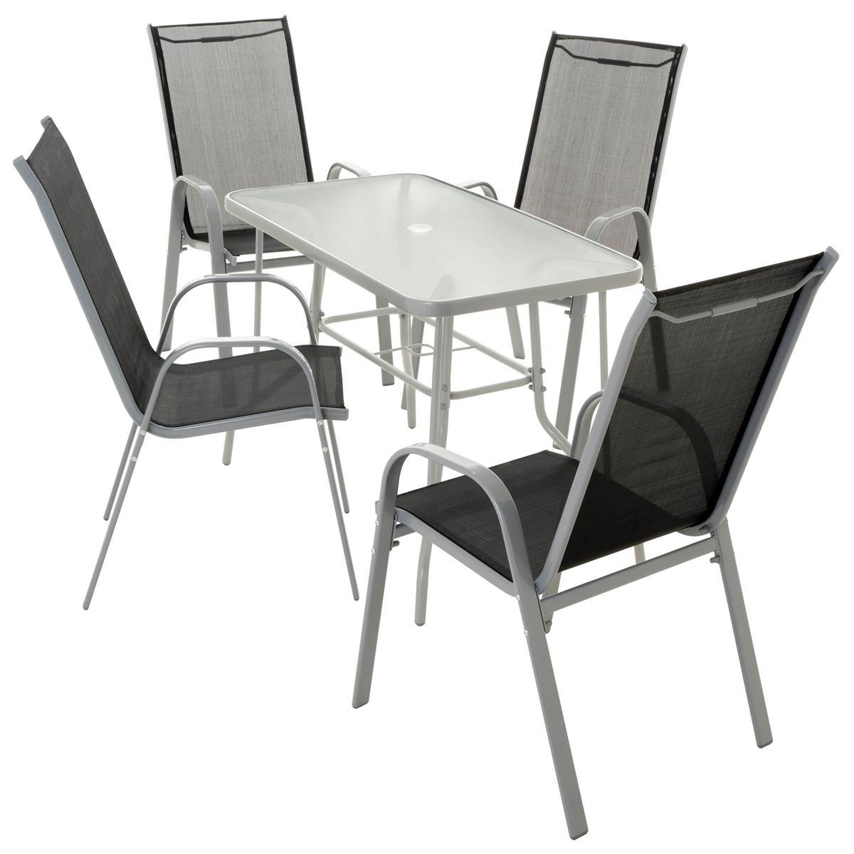 5-teiliges Gartenmöbel-Set schwarz grau Gartengarnitur Stapelstühle + Esstisch