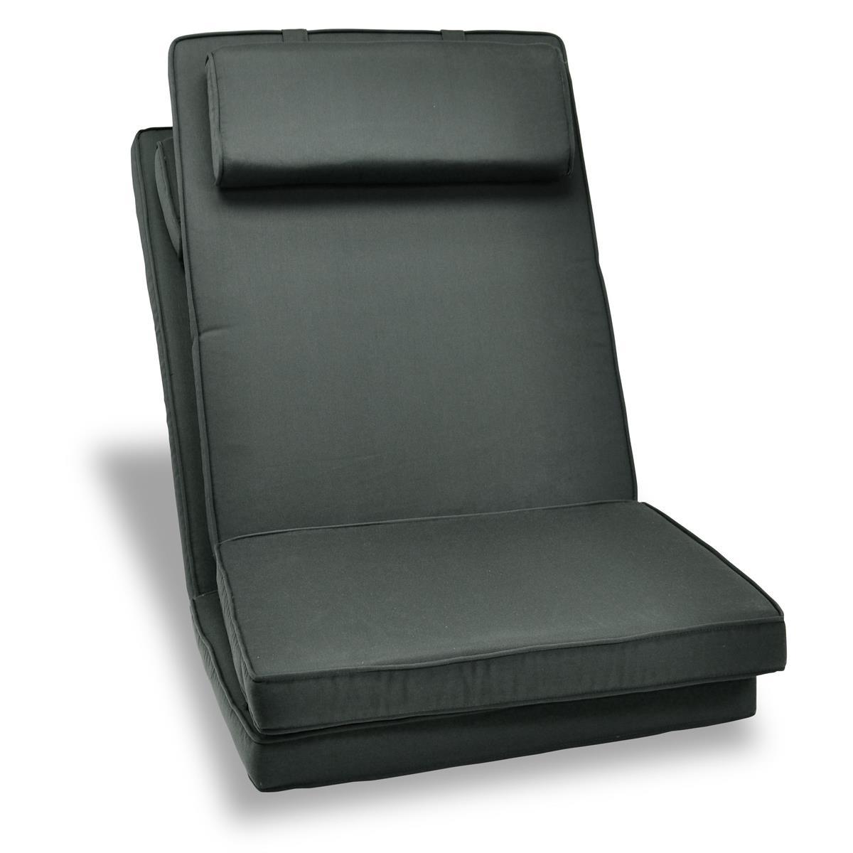 DIVERO 2er Set Sitzauflage Stuhlauflage Polster Gartenstuhl Klappstuhl anthrazit