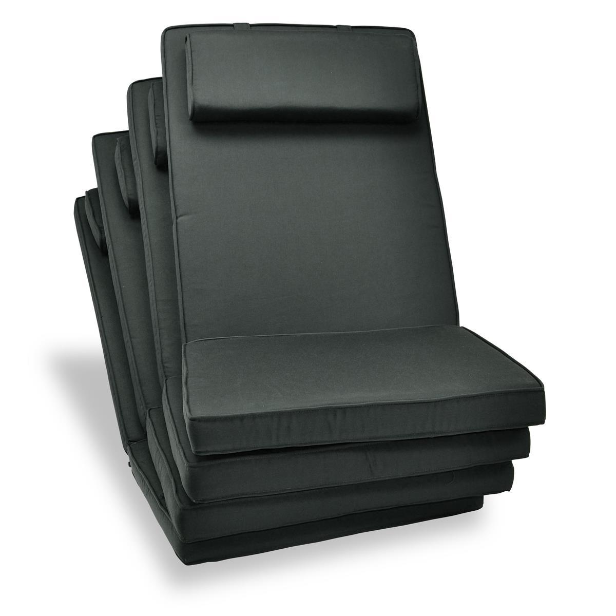 DIVERO 4-er Set Sitzauflage Stuhlauflage Hochlehner Gartenstuhl anthrazit