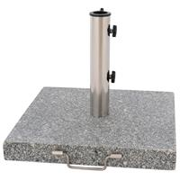 Sonnenschirmständer 30kg Granit poliert grau eckig Edelstahl 45 x45 cm Griff