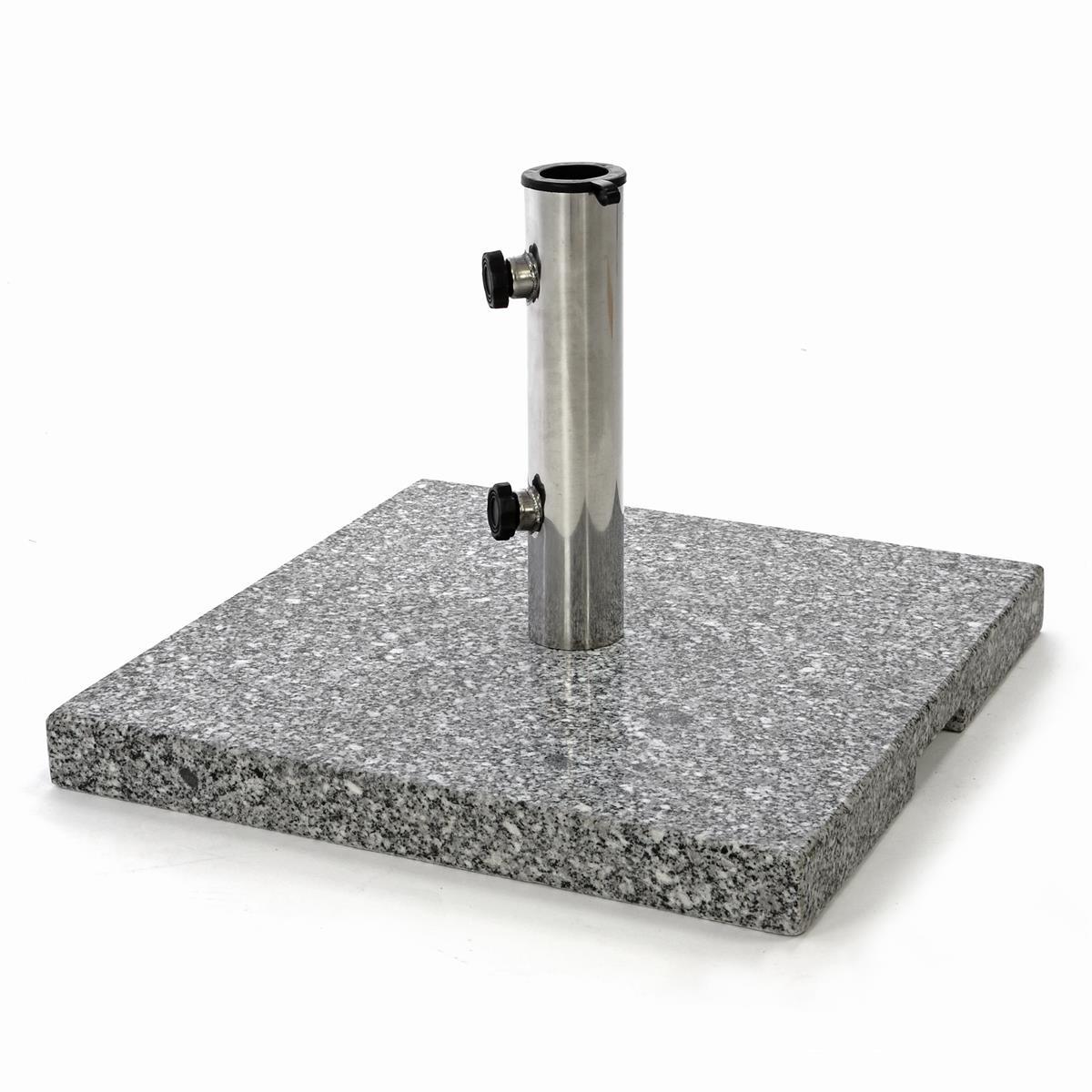 Sonnenschirmständer 26 kg Granit grau eckig 45x45 cm Edelstahlhülse Standfüße